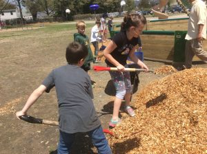 Students Spreading Woodchips